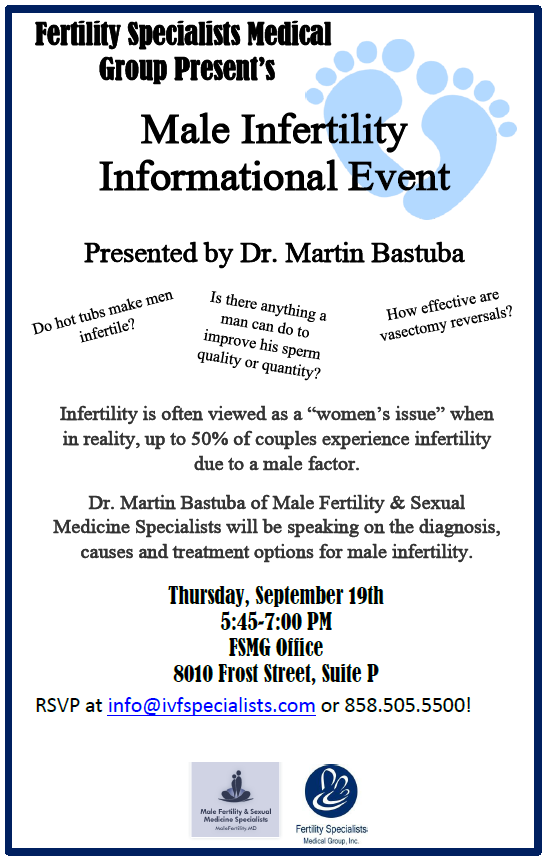 Join Us This Week for a Male Infertility Informational Event Hosted by Dr. Bastuba